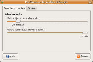 panneau gestion dénérgie- ubuntu